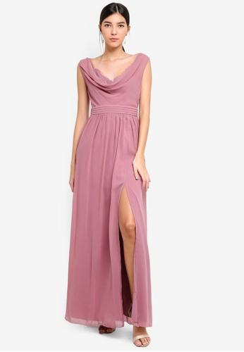 Little Mistress pink Rose Cowl Neck Maxi Dress 562D9AA8701856GS_1