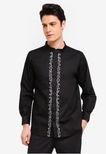 Zalia Homme 黑色 Embroidered Mandarin Collar Top A5F27AAFC1CE4EGS_1