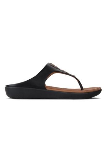 acb5e57f61f0 FitFlop black Fitflop Banda Leather Toe-Thong-Crys Black B9476SH7C4B9E8GS 1
