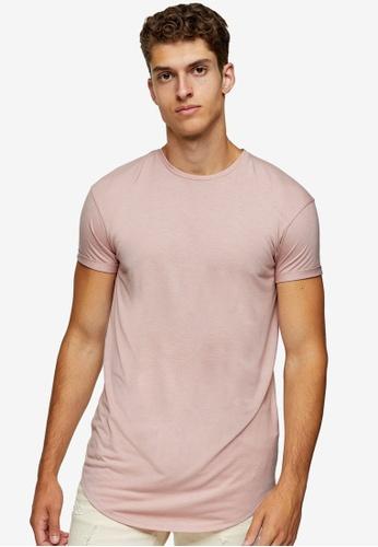 Topman pink Pink Longline T-Shirt 30742AA7064785GS_1