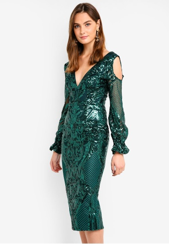 Elle Zeitoune Green V Neck Sequin With Open Shoulder Detail Midi Dress 846c7aa35d1490gs 1