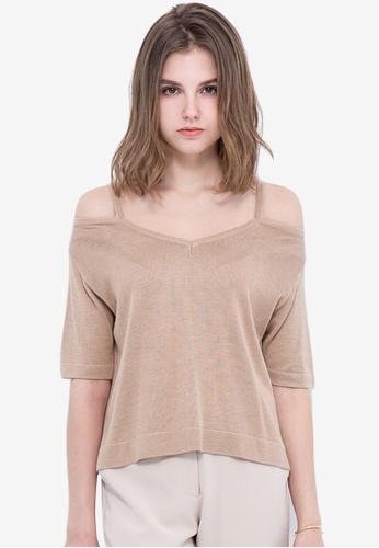 Kodz beige Cold Shoulder Knit Top 80456AAC8C7509GS_1