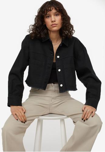 H&M black Cropped Twill Jacket 7458BAA5DC980FGS_1
