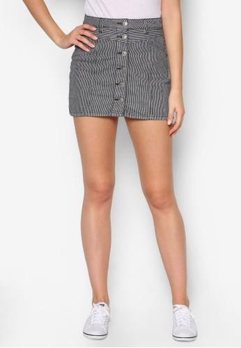 90S 單排扣丹寧短裙, 服飾,esprit服飾 裙子