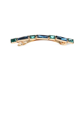 Glamorousky green Simple and Fashion Plated Gold Green Cubic Zircon Geometric Strip Hair Clip 66CE1ACC7BD5BAGS_1