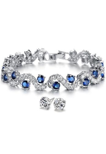 YOUNIQ silver YOUNIQ Blue Diamondate CZ Platinum Plated Silver Bracelet & CZ White 925S Silver Earrings Special Set 65A6BACF7C4586GS_1