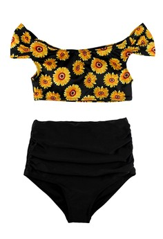 Off Shoulder Sunflower Printed High Waisted Swimwear