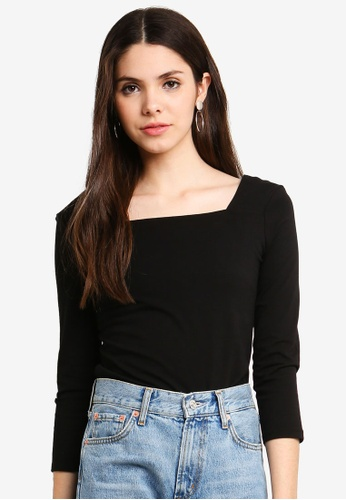 faf86475a0223 Buy Dorothy Perkins Black Square Neck Top Online on ZALORA Singapore