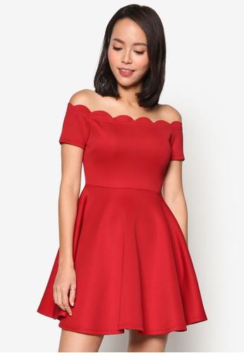 貝型邊飾露肩短袖連身裙,esprit衣服目錄 服飾, 洋裝
