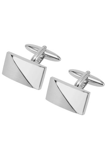 CUFF IT silver Diagonal Silver 2 Tone Rectangular Cufflinks CU047AC67AEMHK_1