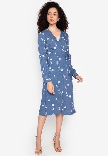 CeFina blue Floral Wrap Dress 275F9AA7AF667CGS_1