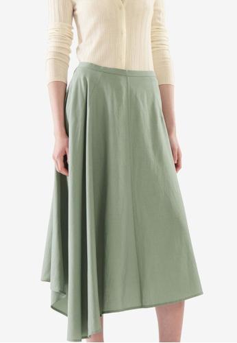 Cos green Asymmetric Skirt 79DD6AA5FB5926GS_1