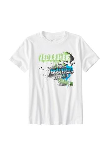 Abercrombie & Fitch white Graffiti Print Logo T-Shirt AC3A5KAF7CBD0AGS_1