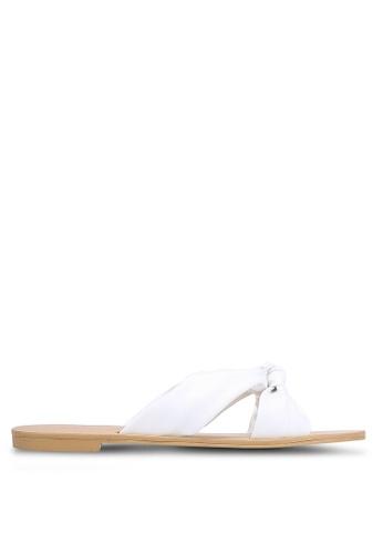 ZALORA 白色 Faux Leather Knotted Slides 0C087SH2D9ABD2GS_1