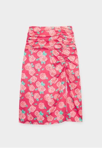 Pomelo red Flower Print Midi Skirt - Red 74B6BAA9F3EB7CGS_1