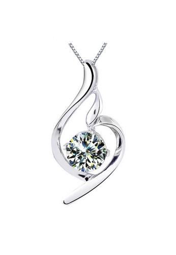 YOUNIQ silver YOUNIQ Wave 925 Sterling Silver Necklace Pendant with White Cubic Zirconia 7248DAC49D7ADDGS_1