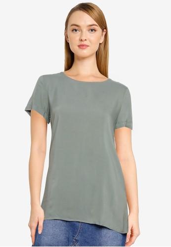 Vero Moda green Nads Fold Up Short Sleeve Top E7DDEAA989ECF6GS_1