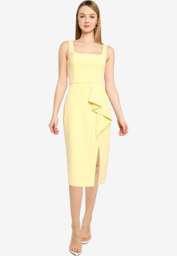Forever New yellow Emily Square Neck Midi Dress 8970FAA0EFDAC0GS_1