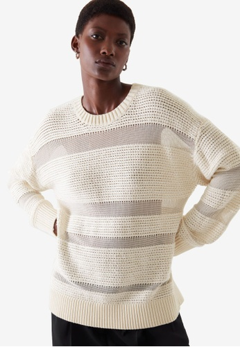COS white Contrast Panel Jumper 80AB2AA2B94684GS_1
