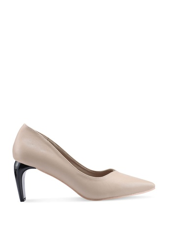nose brown Blunt Heel Pointy Toe Pumps A43DCSH4AE8175GS_1