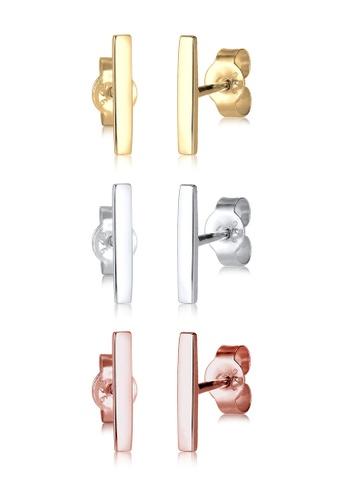 Elli Germany multi Elli Germany 925 Silver Rose Gold and Gold Plated Geo Stud Set Earrings EL474AC06PPTMY_1