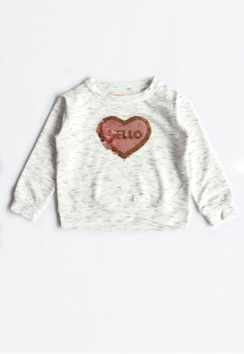 Osella Kids white Osella Baju Anak Perempuan Sweater Sequin Hati White 2D3DCKA36C6174GS_1