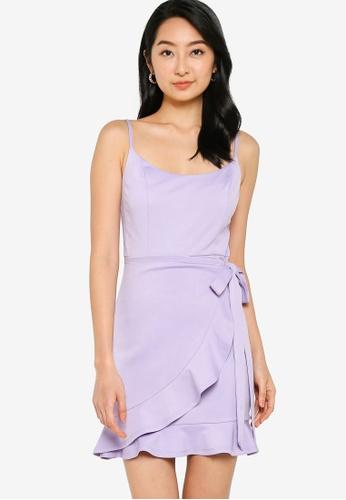 ZALORA BASICS 紫色 Ruffle Tie Dress DC566AAD11425EGS_1