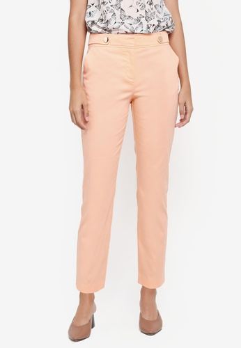 Dorothy Perkins pink Apricot Button Tab Trousers C1C23AA1B75467GS_1