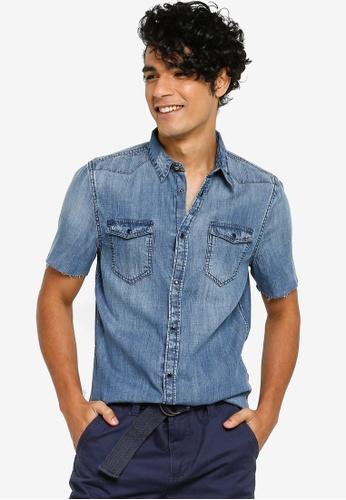 3494d4f1a564c Guess blue Classic Double Pocket Short Sleeve Denim Shirt EC005AA5E51C32GS_1