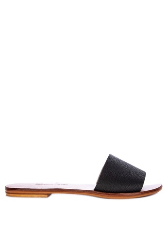 CARMELLETES black Leather Flat Slides 87684SHD5BFCA0GS_1