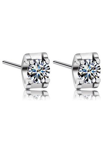 YOUNIQ silver YOUNIQ Box CZ 925 Sterling Earrings (Silver) YO999AC78NOFMY_1