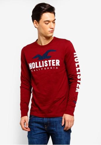 Hollister 紅色 長袖LOGO刺繡T恤 A5343AA196CA8DGS_1