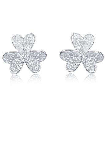 MaBelle silver 14K 585 White Gold Diamond Cut Clover Stud Earrings D53AFACFD6886EGS_1