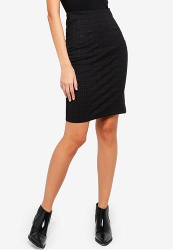OVS black Check Jacquard Pencil Skirt 3BBDCAA5207F52GS_1