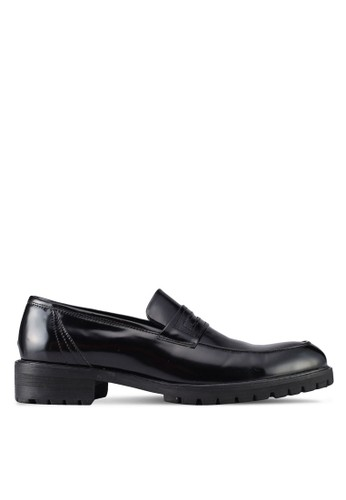 ZALORA black Faux Leather Slip On Dress Shoes 872A4SH724A088GS_1