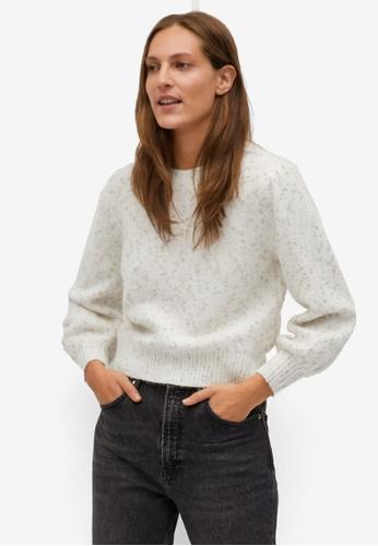 Mango beige Glossed Effect Knit Sweater 28164AAAE1D233GS_1