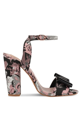 Velvet black and pink and multi Textured Heels F091BSHCC1F1C7GS_1