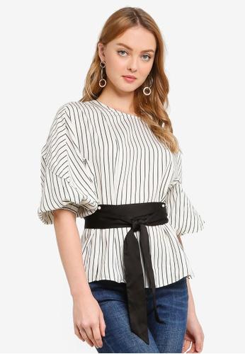 Hopeshow black and white Capri Sleeve Slim Waist Stripe Blouse with Sash Belt 2A203AABABCF10GS_1