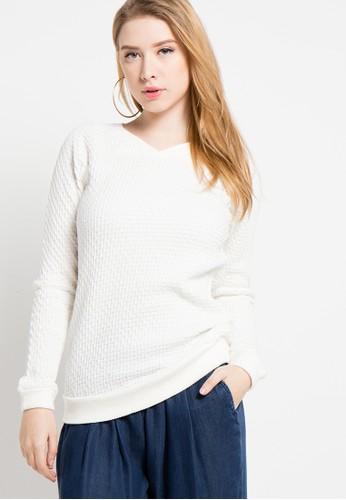 LOIS JEANS white Long Sleeve Sweater LO391AA01ZWCID_1