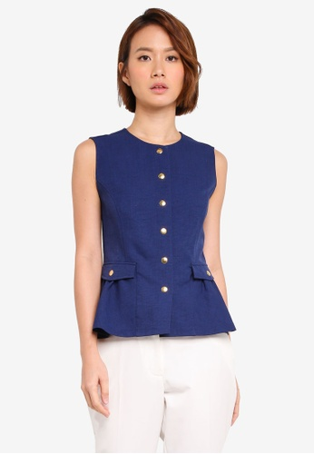 ZALORA navy Buttoned Down Flare Peplum Top 7BBD5AA43BF950GS_1