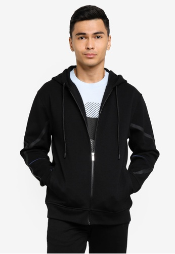 CK CALVIN KLEIN black COTTON SPACER HOODED ZIP-UP WITH PLASTISOL AND EMBROIDERY 882F9AA2396405GS_1