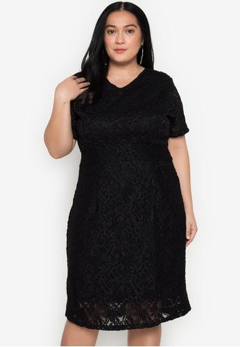 RUESALIDOU black Plus Jing Full Lace Dress 06CB8AA324338CGS_1