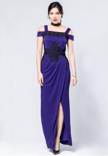 ddf4f8b08225d Evening by Karen Liu purple Off the shoulder lace details stretch fabric  split drape dress A59C2AAD1000FDGS 1