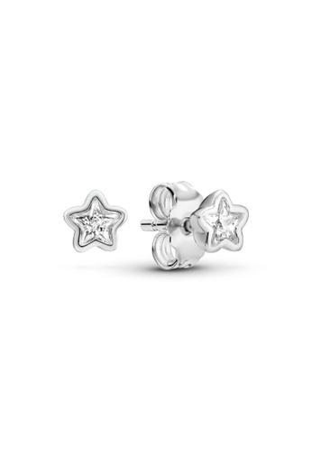 PANDORA silver Pandora Sparkling Star Stud Earrings E69E2ACD96AC00GS_1