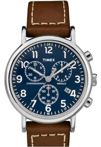 TIMEX brown Timex Weekender Chrono - Brown Strap, Blue Dial (TW2R42600) TI857AC0FOYHSG_1