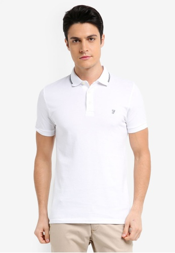 French Connection white Summer Black Tipping Polo Shirt 96096AA71EA984GS_1