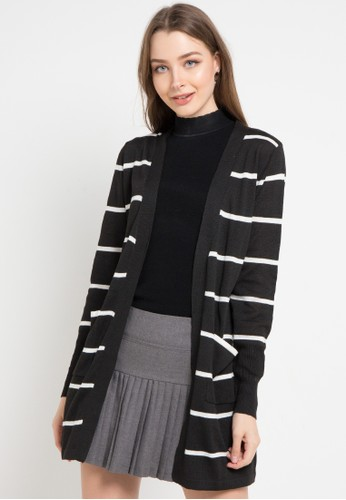 Peponi black and multi Stripe Long Cardigan 910A2AABEE3298GS_1