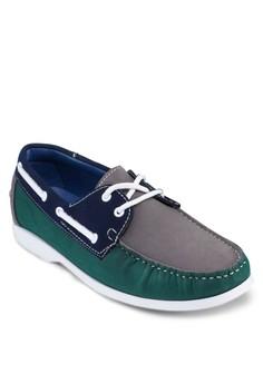 Tri Tone Faux Leather Boat Shoe