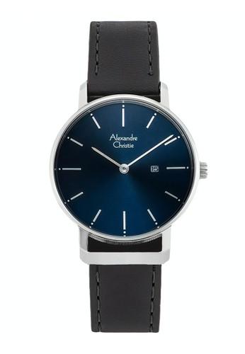 Alexandre Christie black Alexandre Christie Jam Tangan Wanita - Black Silver Blue - Leather Strap - 8572 LDLSSBU 98CD3AC1AFD264GS_1