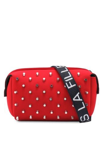 La Fille Des Fleurs red G- Pouch Studded Belt Bag 763AFACD7D4656GS_1
